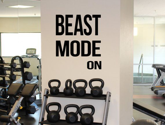 Gym motivation quote beast mode on vinyl decal workout fitness
