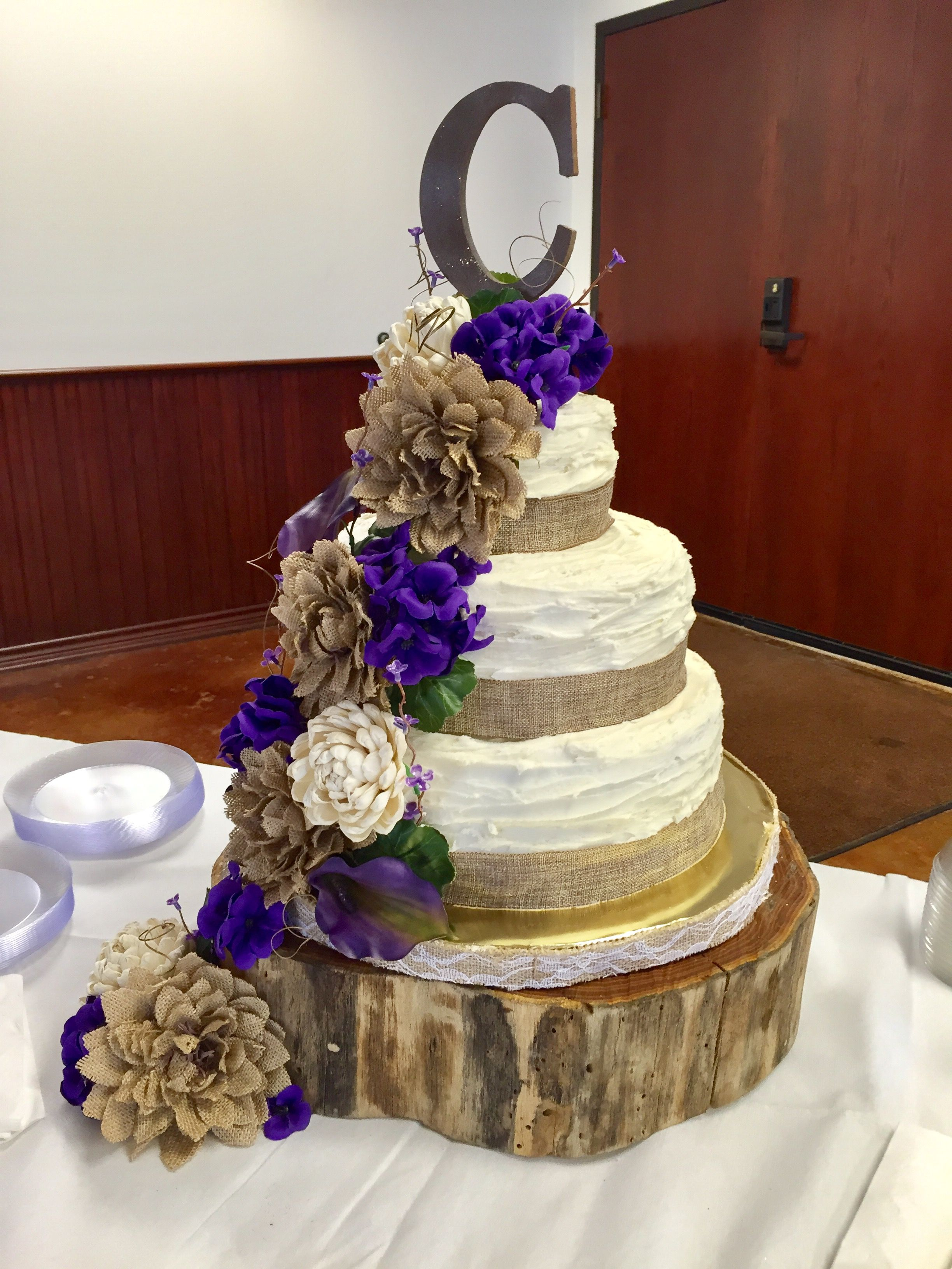 Burlap And Purple Wedding Cake