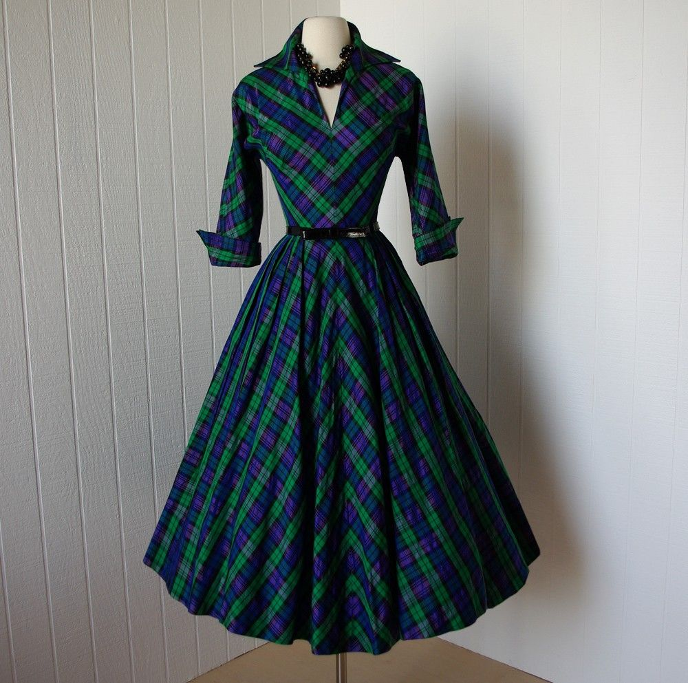 Amazing 1950s plaid day dress: the 50s had, by far, the ...