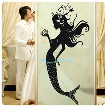 Mermaid Wall sticker art Decals Bathroom Baby Room Vinyl Decor Decorative Glass Door Stickers free shipping size : 50*100cm