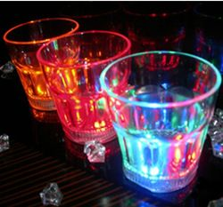 Colorful led wine glass flashing octagonal cup luminous cup turesday water ktv supplies