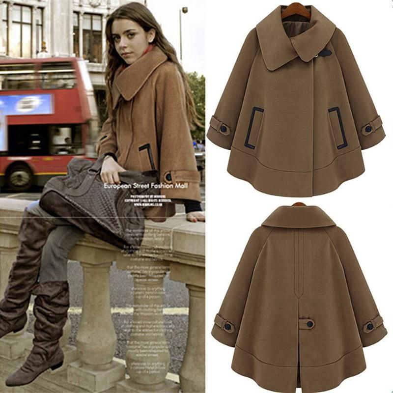 Women Cape Batwing Wool Poncho Belted Jacket Winter Clothes Cloak Coat Size S-XL