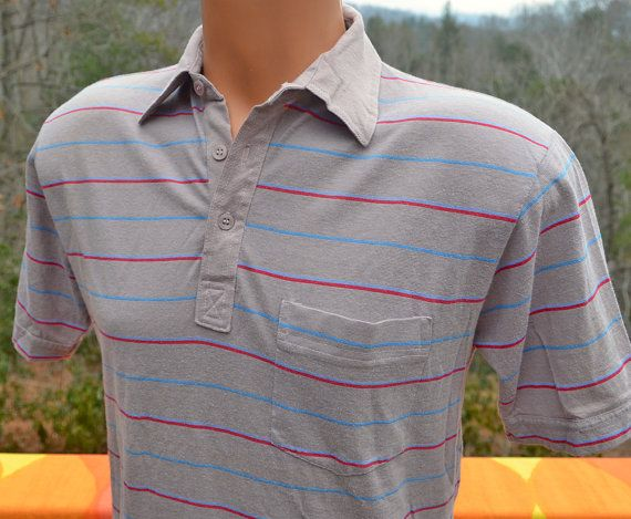 vintage 70s polo golf shirt gray STRIPE soft thin by skippyhaha, $18.00