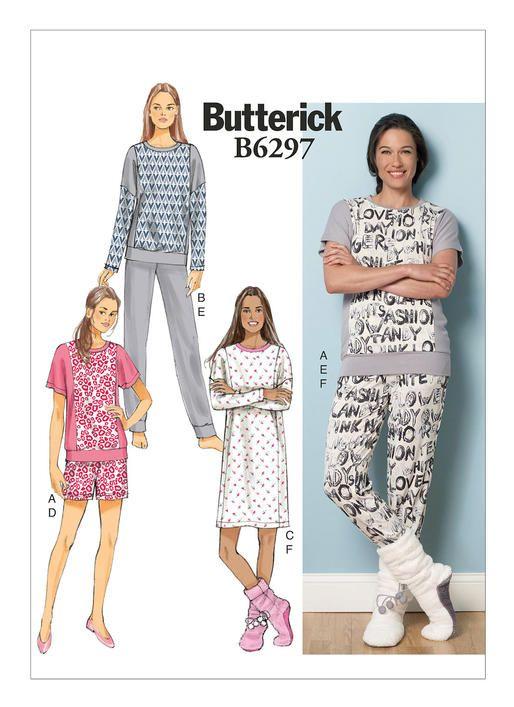 Butterick B6297 top, dress, shorts, pants, and lounge socks ...