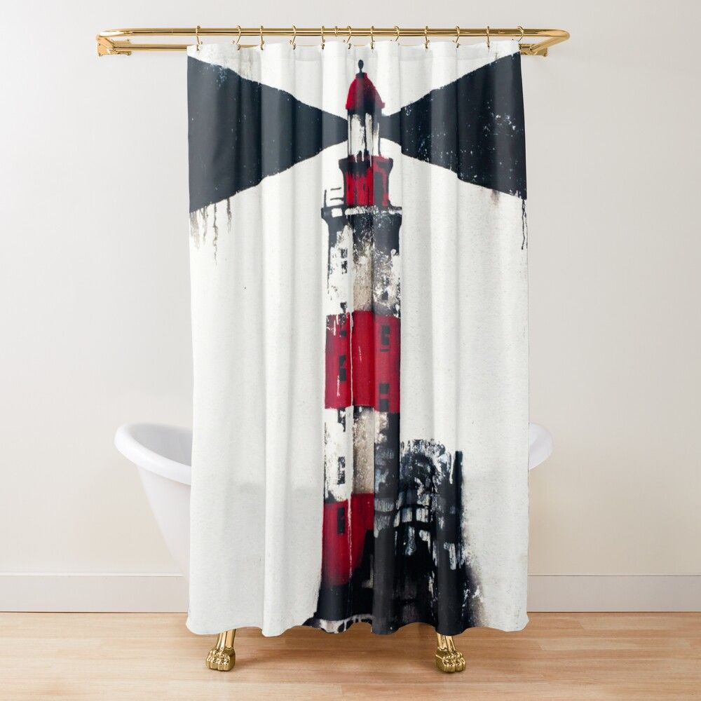 Lighthouse Shower Curtain By Andrii In 2020 Curtains Printed