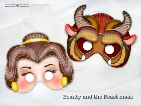 Unique Beauty and the Beast Printable Masks, Beauty, party mask - face masks templates