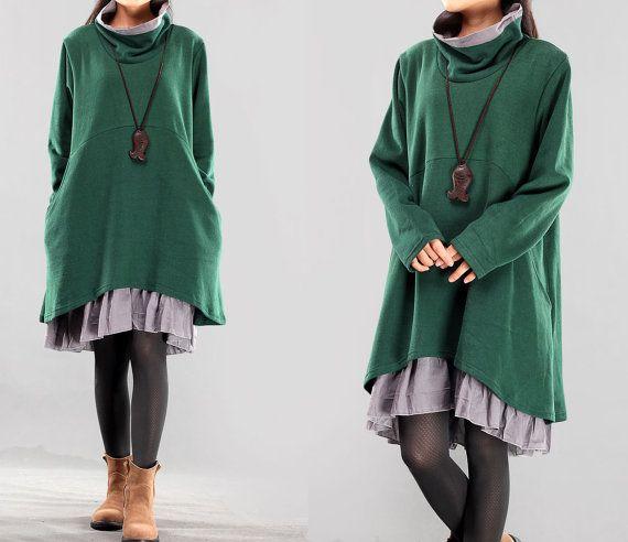 Dark Green Dress Women Loose Fitting Stretchy Cotton Dress Women Fall Dress Long Sleeve Dress Turtleneck Dresses MM147