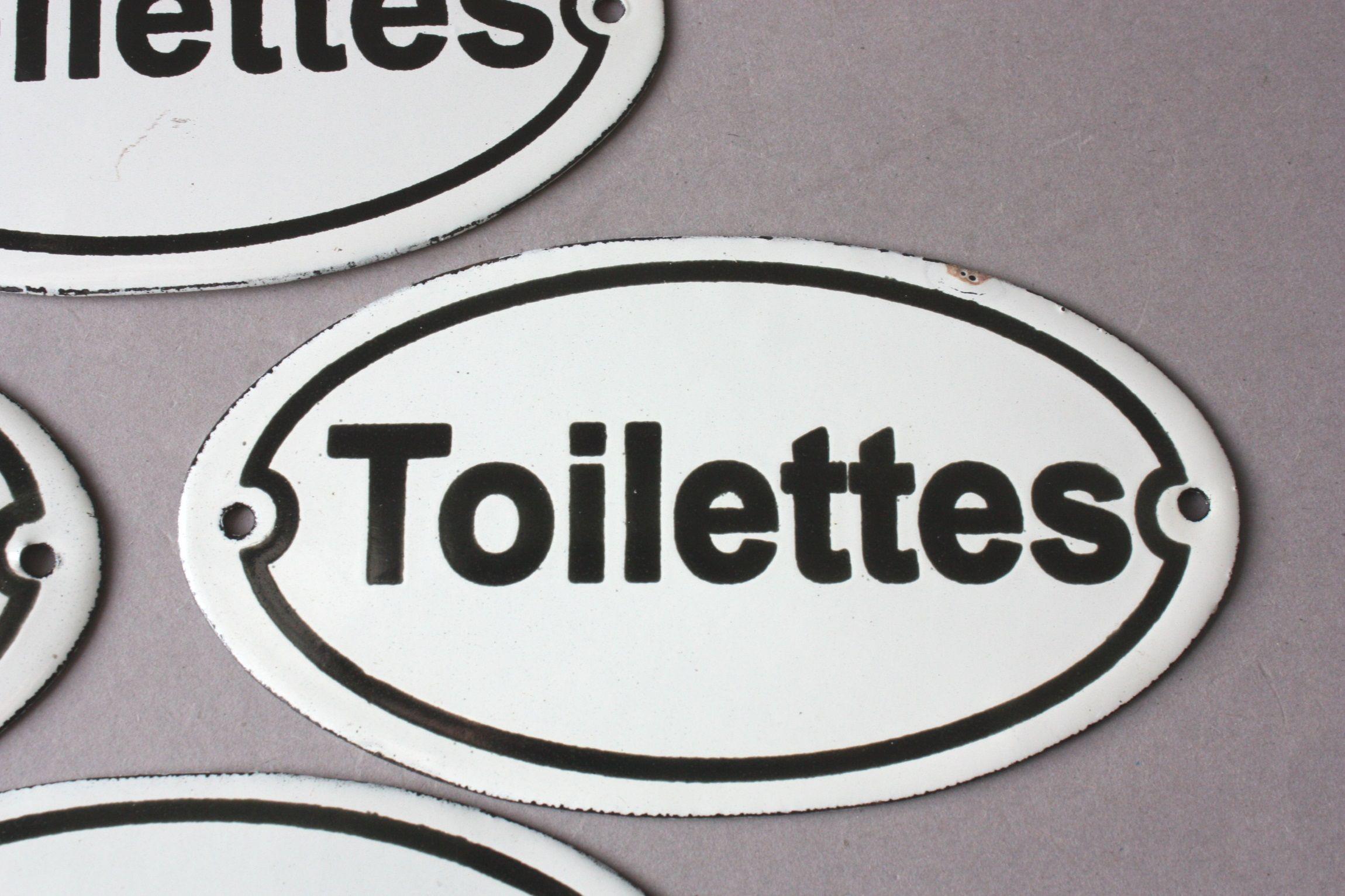 """Emailleschild Türschild Schild Emaille weiß /""""Toilet/"""""""