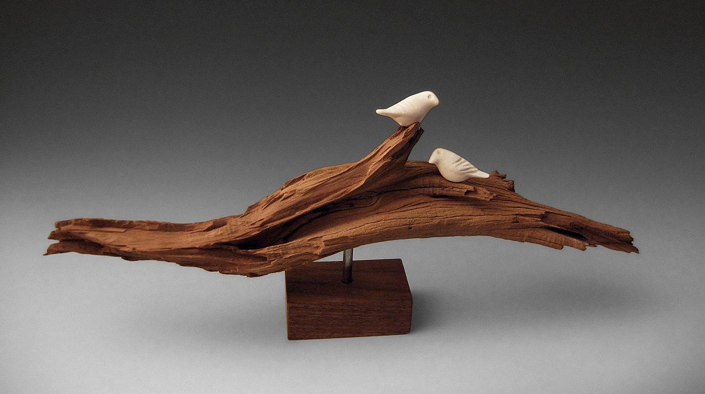 Ghost Wood Birds By Chris Stiles Ceramic Wood Sculpture Wood