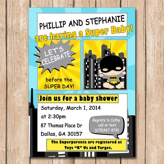 Superhero Baby Shower Invitation | Batman Baby, Robin Baby