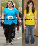 runs for cookies, weight loss journey