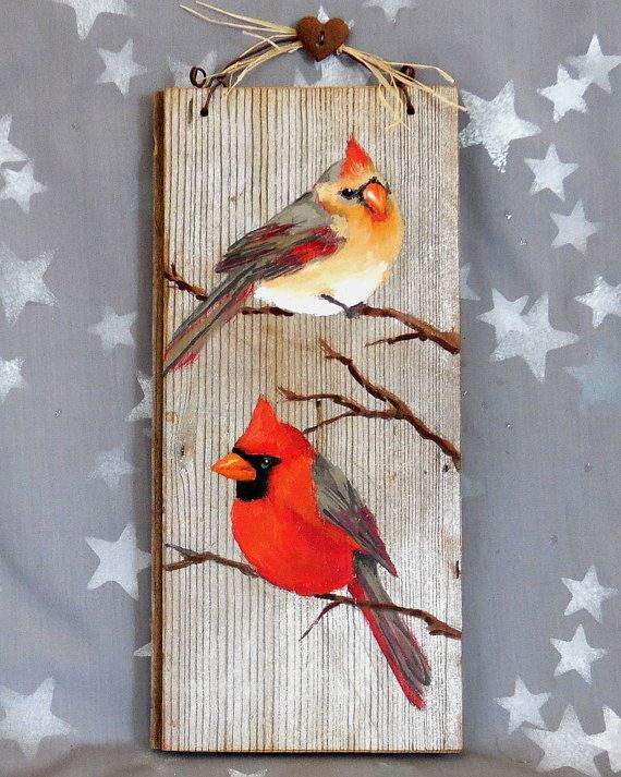 """Dignified Cardinals, authentic barnwood, rustic, hand painted, 11"""" x 3 1/2"""""""