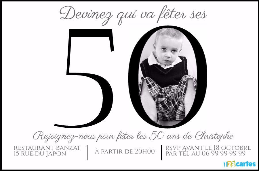 invitation anniversaire 50 ans chiffres