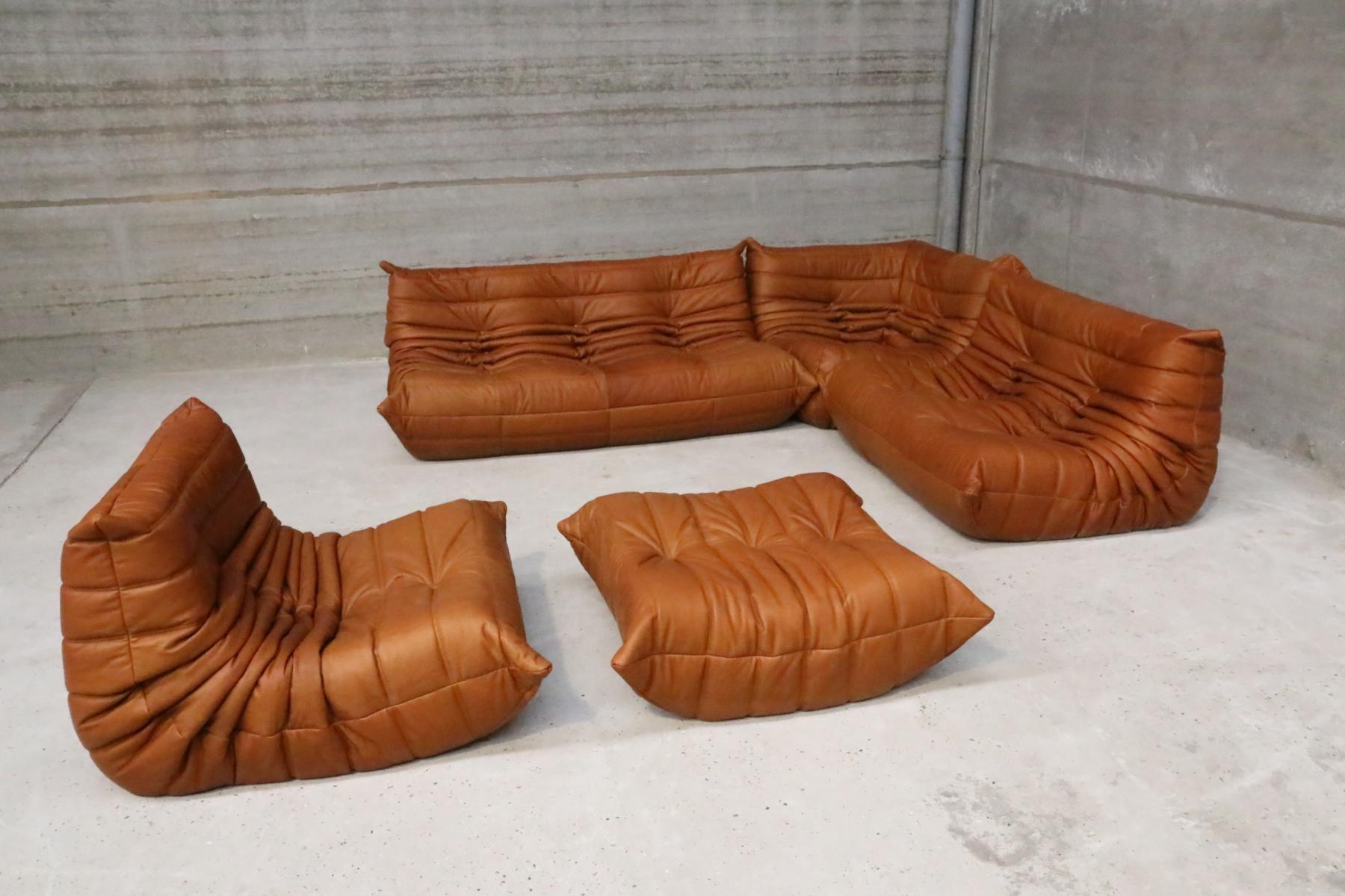 Vintage Togo Set Aus Cognacfarbenen Leder Von Michel Ducaroy Fur