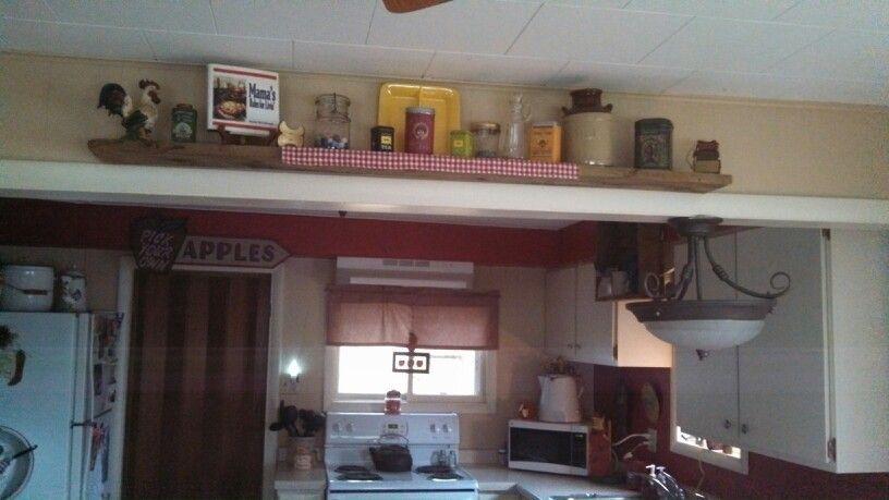 Floating shelf in dining room