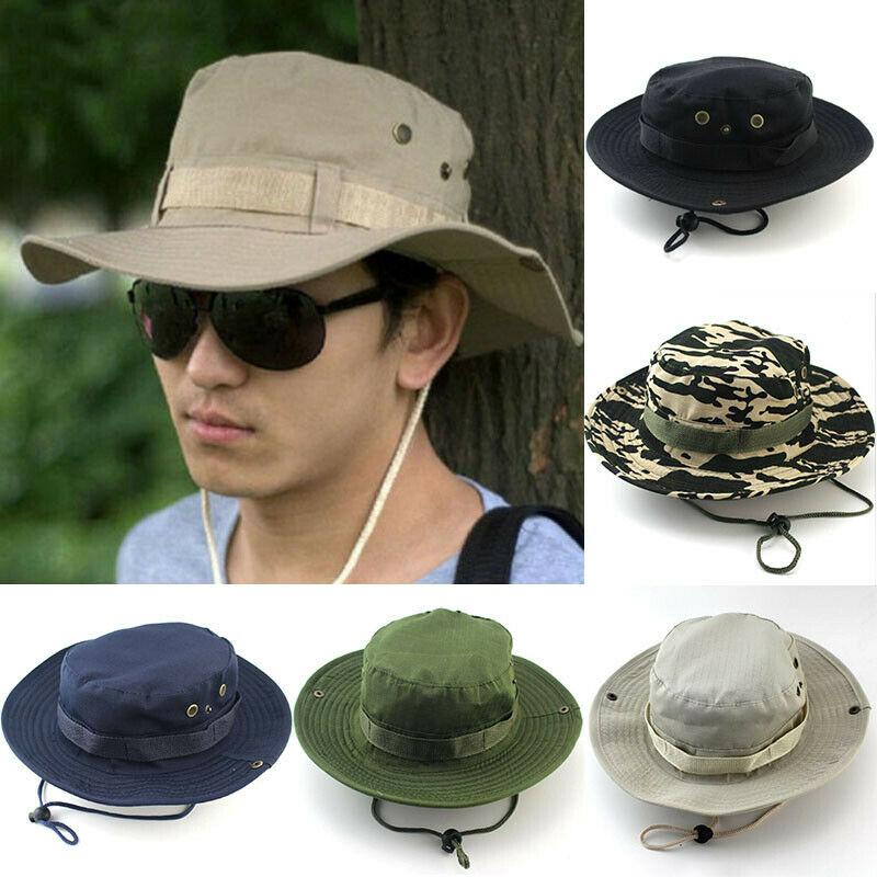UK Fashion Men/'s Tactical  Boonie Suncap Outdoor Fishing Hiking Drawstring Hat