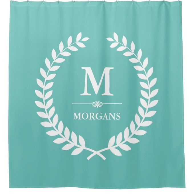 Elegant Laurel Wreath Decor Teal Green Monogram Shower Curtain