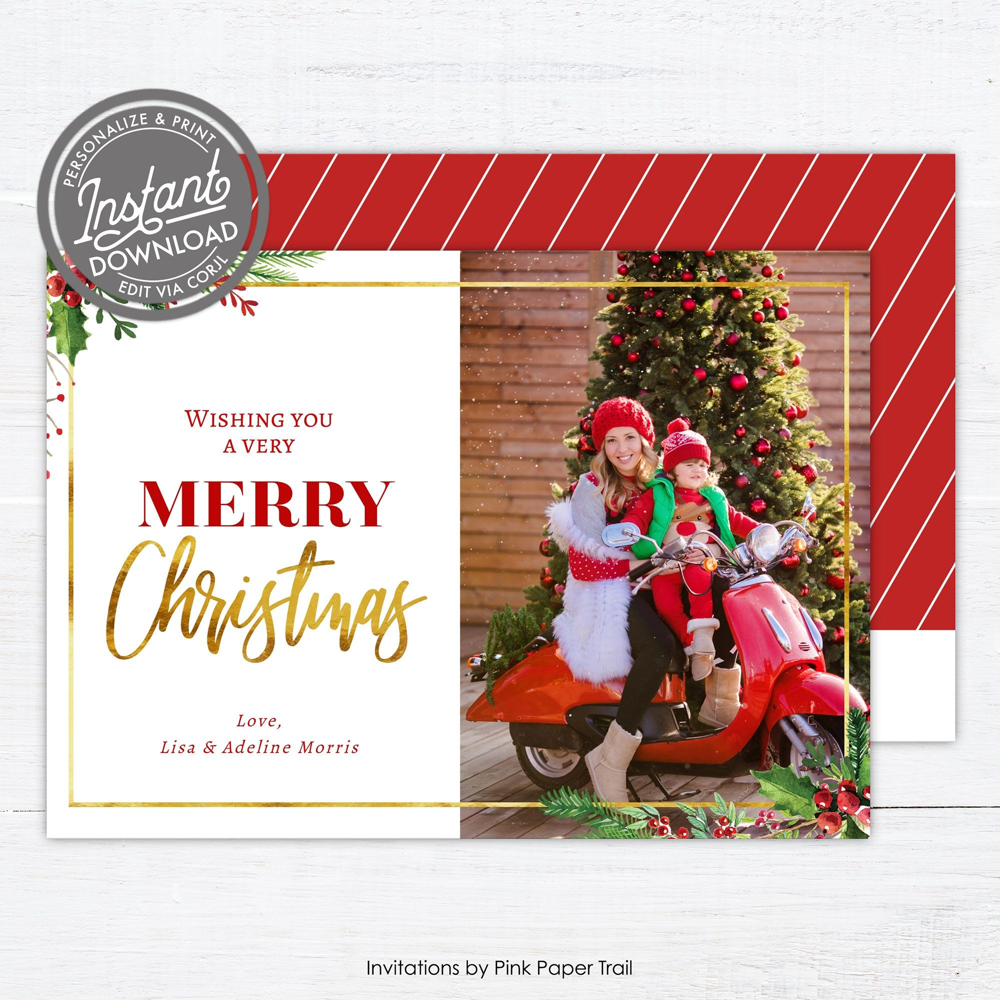 Editable Christmas Photo Card Template Printable Christmas Card With Photo Christmas Holly Holiday Photo Card Instant Access Hollies V1 1 In 2020 Christmas Photo Card Template Christmas Photo Cards Printable Christmas Cards