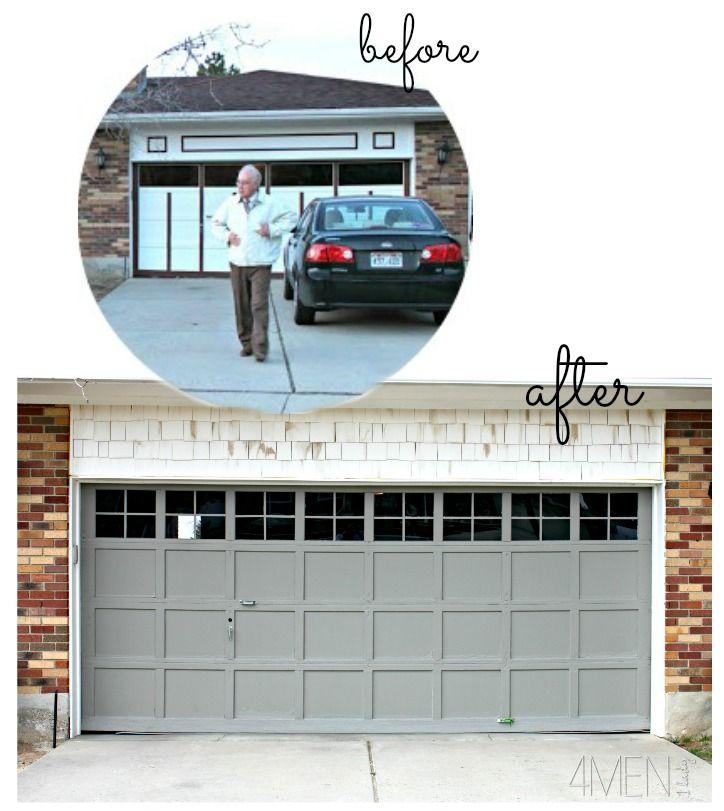 Adding Trim To Our Garage Door 4 Men 1 Lady Garage Doors Old Garage Diy Garage Door