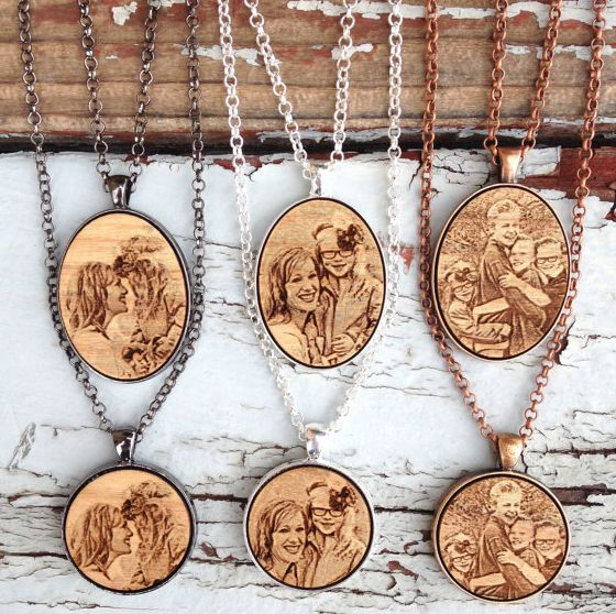 Laser engraved etched wooden pendant for mothers mom dear laser engraved etched wooden pendant for mothers aloadofball Image collections