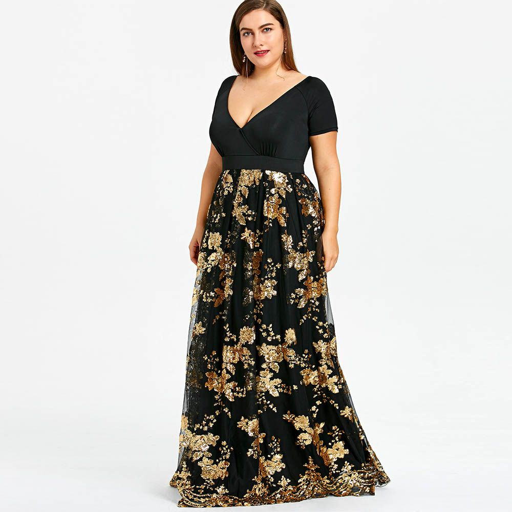 8c76548192d2f AZULINA Plus Size Dress Women Deep V Neck Short Sleeves Floral ...