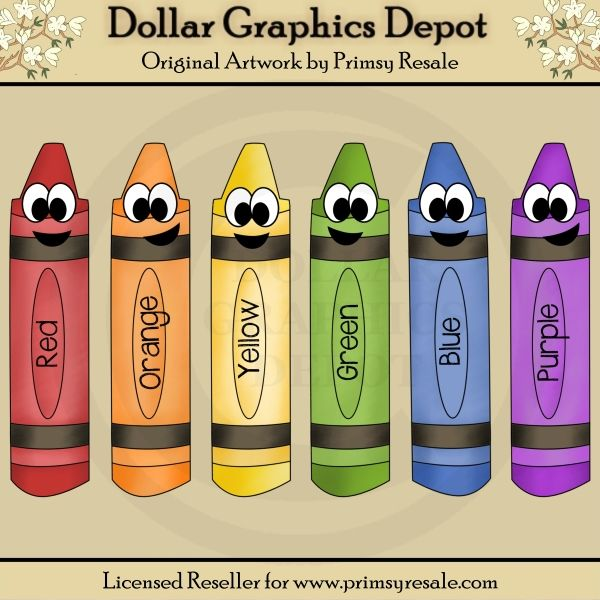 Happy Crayons Clip Art Set, by Primsy Resale - $1.00 : Great for ...