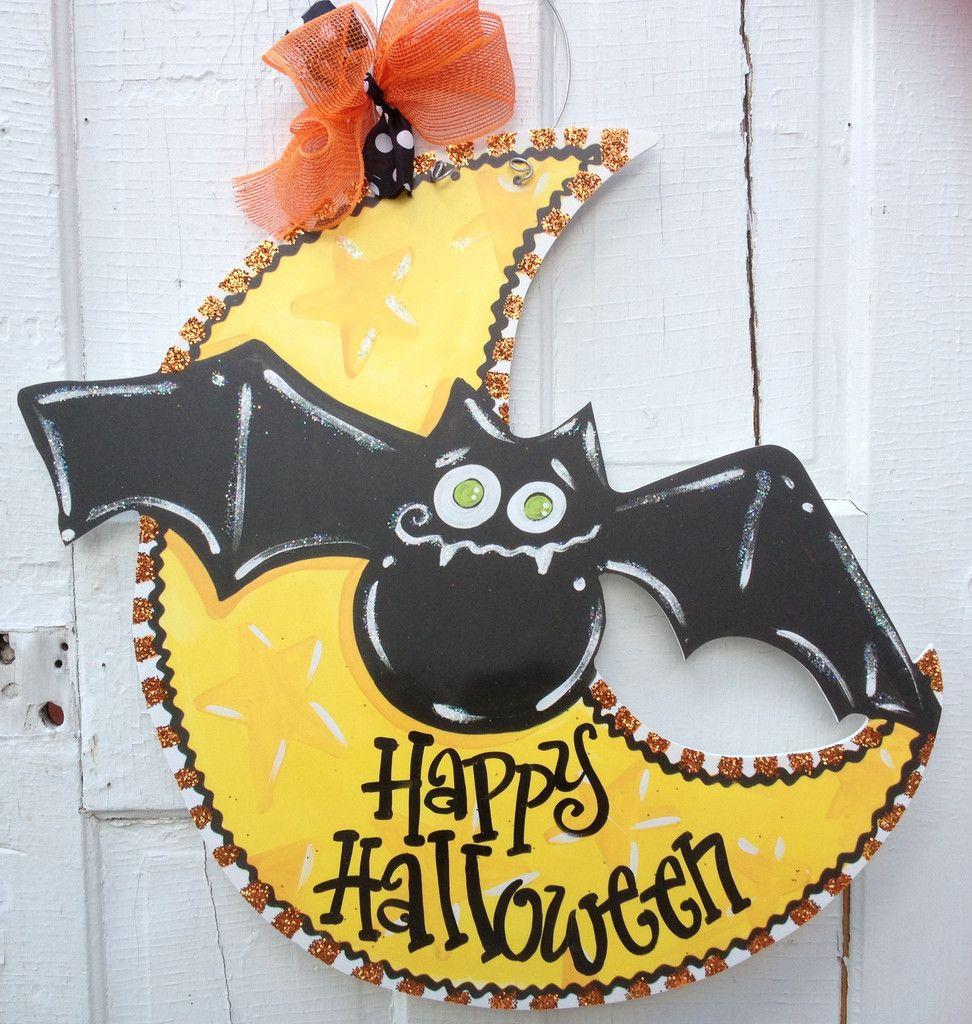 Pin By Kim Hornsby On Door Hangers Halloween Door Hangers Burlap Door Hangings Wood Door Hangers