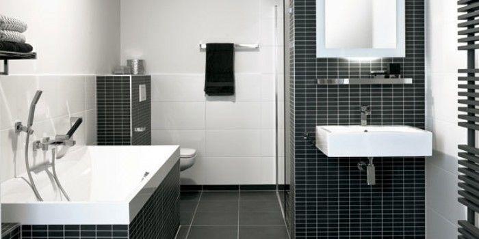 Rechthoekige witte tegels badkamer pinterest witte tegels tegels en badkamer - Wc zwart wit ...