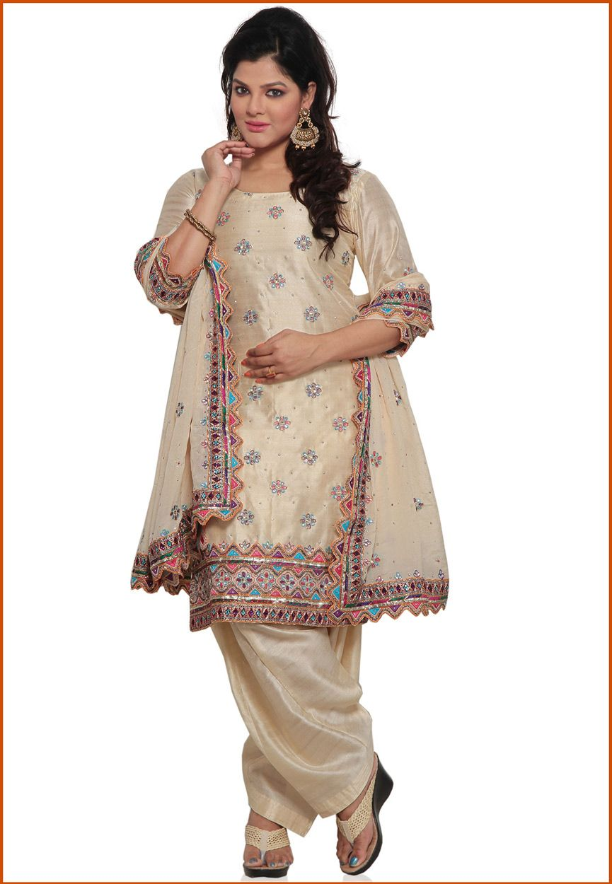 Cream Pure Silk Punjabi Salwar Suit Online Shopping: KHS392 ...