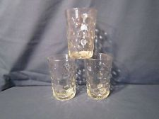 Set of 3 Anchor Hocking Fire King Bubble Crystal Clear Water Tumblers