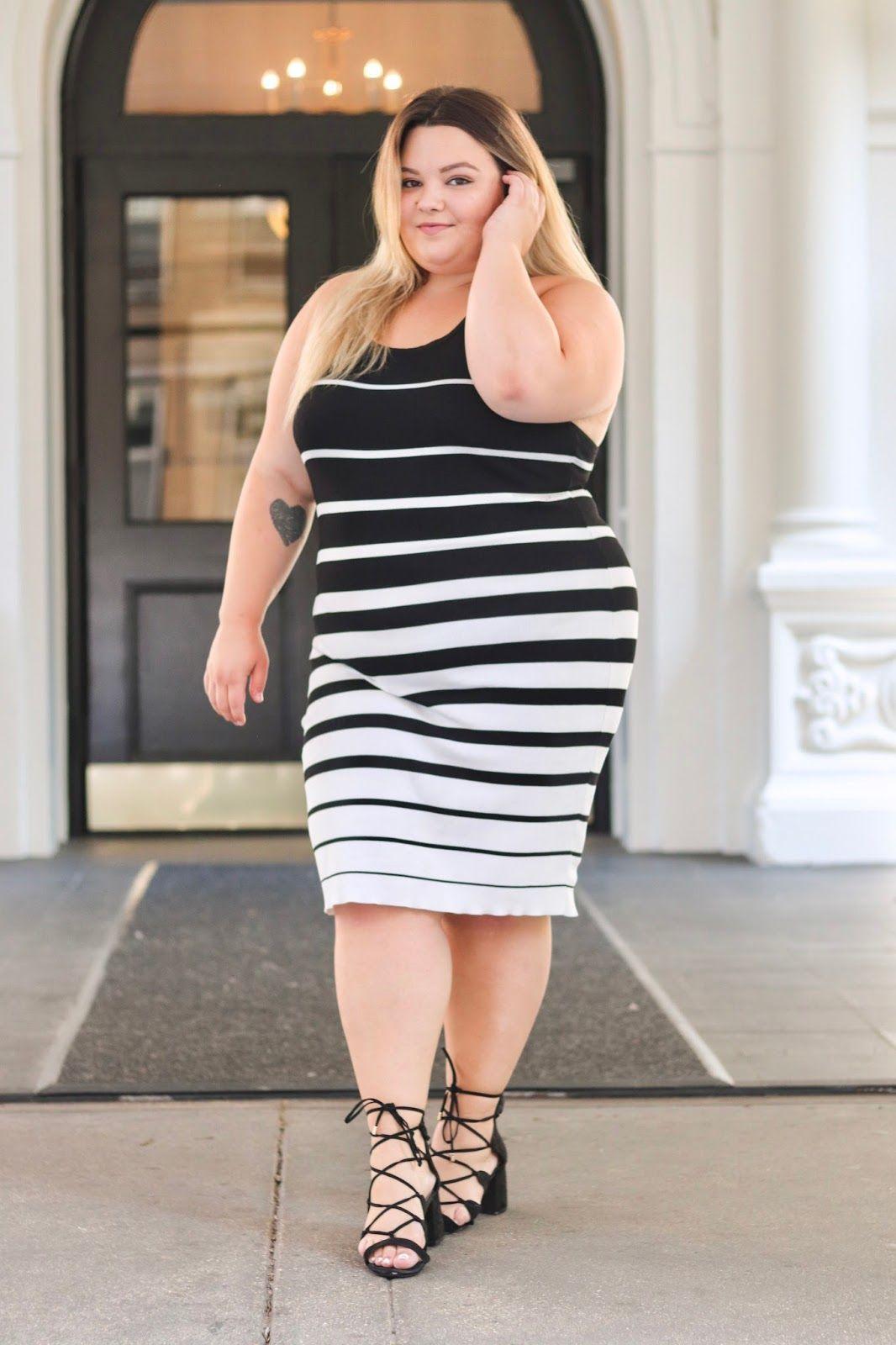 f72df8c9437 Chicago plus size fashion blogger Natalie Craig reviews Fashion Nova Curve s  Enzo Knot Dress and discusses why plus size women should wear stripes!