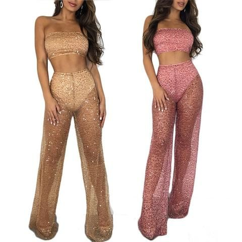 Women Sheer Mesh Sequin 2 Piece Set See Through Strapless Crop Top and Pant  Set Club 8842a7e2d49b