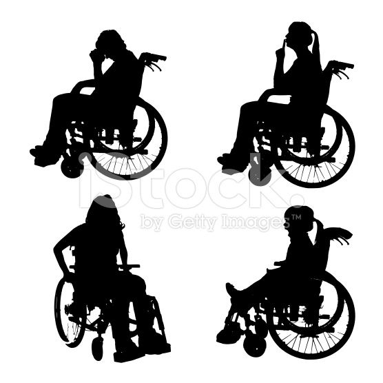 Vector silhouettes of people in a wheelchair. royalty-free stock vector art