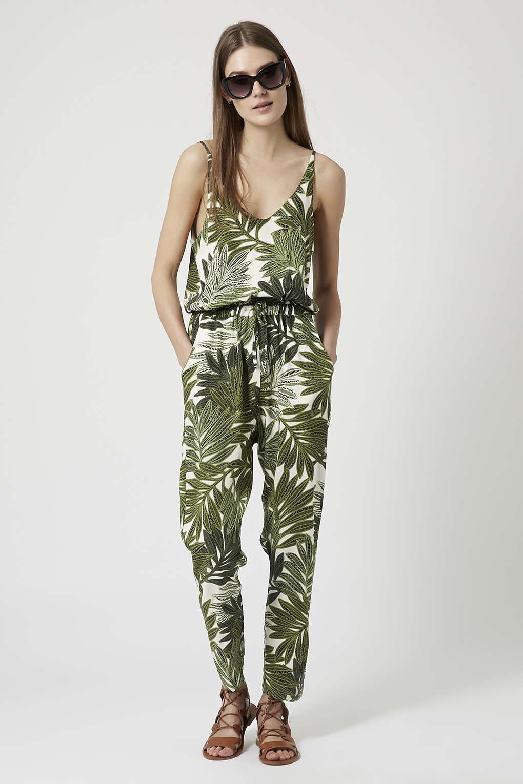 ec4ae7a7931 Palm Leaf Print Strappy Jumpsuit - Topshop