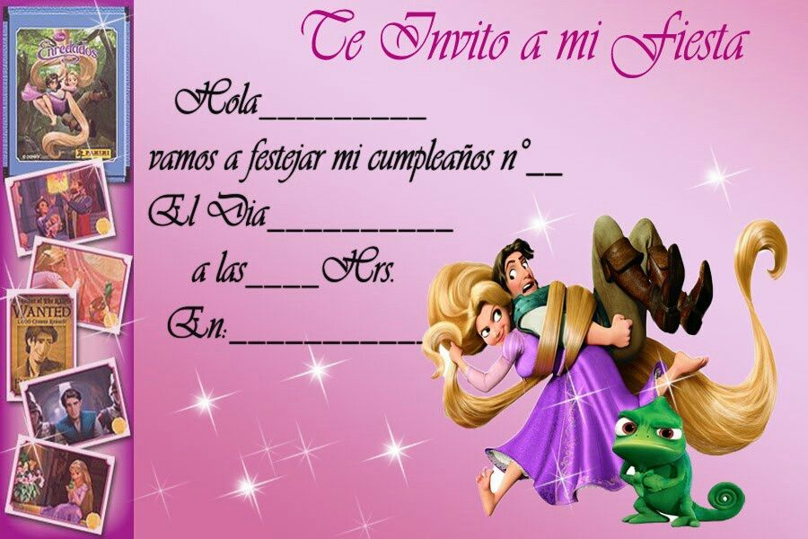 Pin De Blanca Flor En Rapunzel Invitaciones De Cumpleaños
