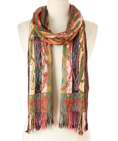 Another great find on #zulily! Burgundy Patchwork Silk-Blend Scarf #zulilyfinds