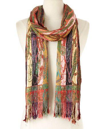 Another great find on #zulily! Burgundy Patchwork Silk-Blend Scarf #zulilyfinds