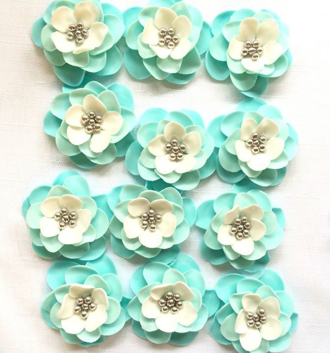 Fondant Flowers 12 Vintage Teal White Silver Ombre Edible Flowers Cake  Topper Cupcake Toppers Decorations Wedding
