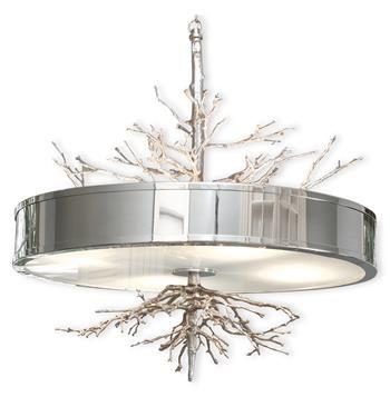 Bijou Tree Branch Hollywood Regency Silver Nickel Ceiling Pendant Lamp #kathykuohome