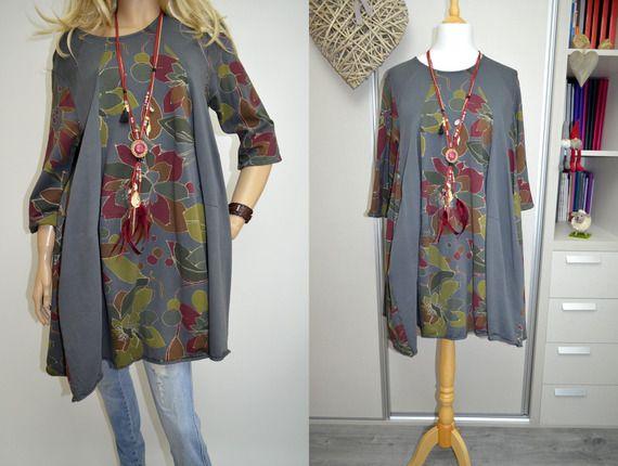 44 46 48 50 Italie Boutique Wendy Trendy Coton Lagenlook Robetunique Poches Fleurs Lagenlook Dress Tunic Dress Dresses