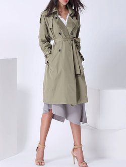 Army Green H-line Plain Elegant Trench Coat