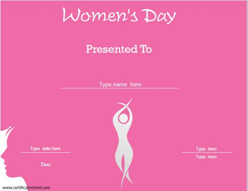 Special Certificate  WomenS Day Template  CertificatestreetCom
