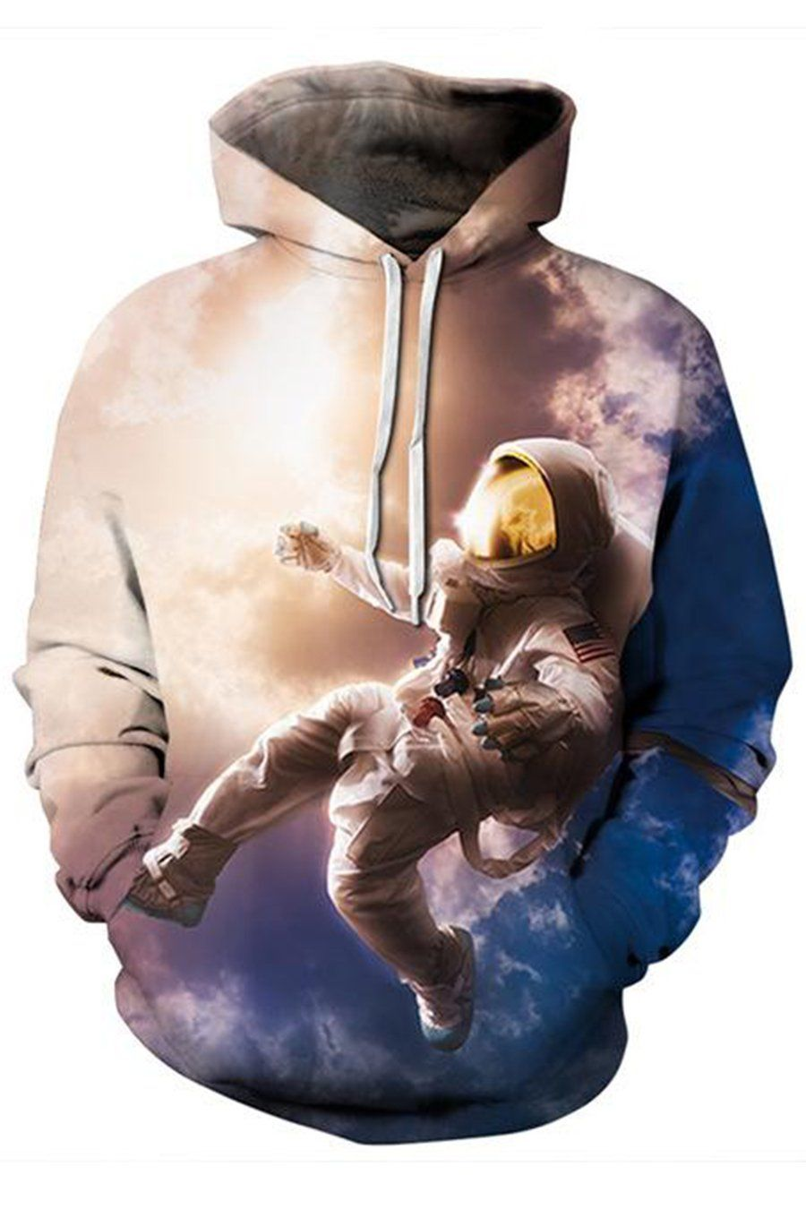 Mens Astronaut 3D Printed Hoodie Hooded Sweatshirt Coat Sweater Sweats Pullover