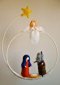 c5462885bfa  Nacimiento colgante hecho con fieltro Artesanías De Navidad