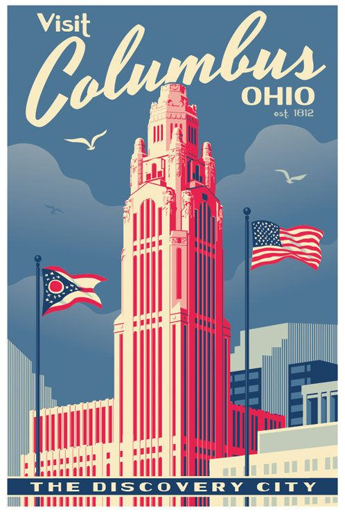 Columbus Vintage Style Travel Poster By Redrobotcreative On Etsy Vintage Travel Posters Travel Posters Vintage Posters