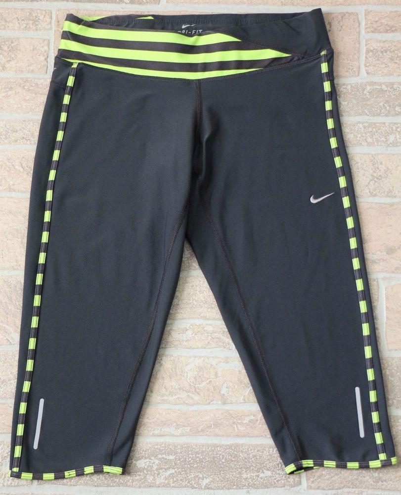 Nike dri fit gray green crop capri pants leggings running