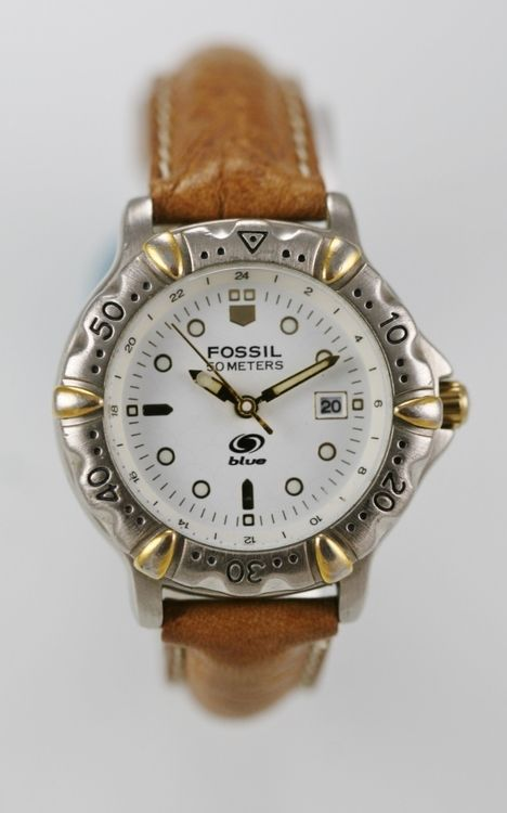 Fossil Watch Women White Date Leather Tan Stainless Silver Gold Steel 50m Quartz