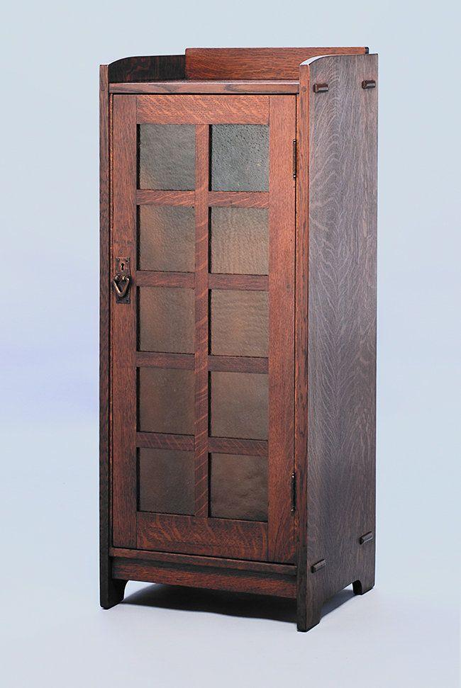 Gustav Stickley One Door Music Cabinet With Original Amber