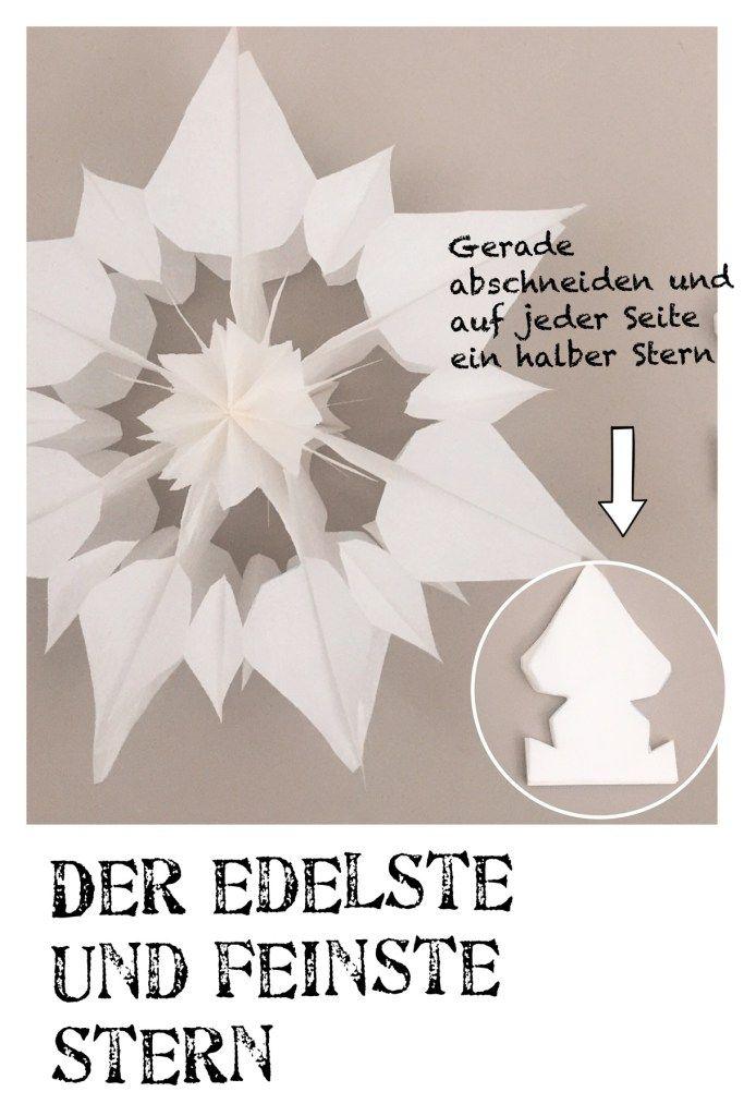 Sterne aus Butterbrottüten, kostenlose Anleitung, Bastelvorlage, Advent, #julestjernerpapir