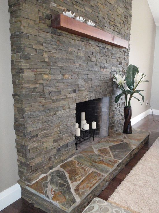 Spaces Stone Fireplace Hearth Design Pictures Remodel